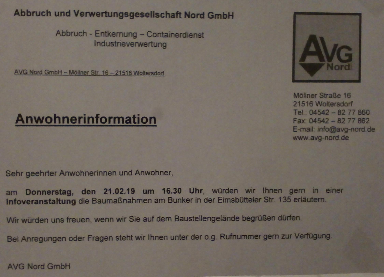 Anwohnerinformation zum Bunkerabriss Eimsbütteler Straße 135